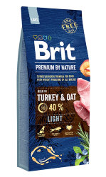Brit Premium by Nature Сухой корм для собак всех пород, склонных к ПОЛНОТЕ (Light Turkey & Oats), 15 кг